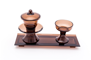 CUP SET WITH STAND PLASTIC BROWN 070