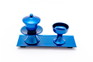 CUP SET WITH STAND PLASTIC  METALLIC BLUE 071