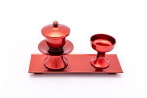 CUP SET WITH STAND PLASTIC  METALLIC RED 072